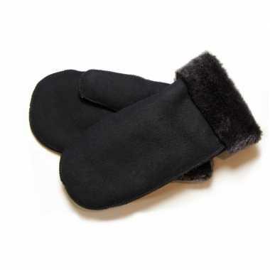 Warme zwarte wanten met schapenvacht/wol voering voor dames/heren