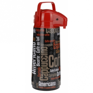 Warmhoudkan zwart/rood 1900 ml