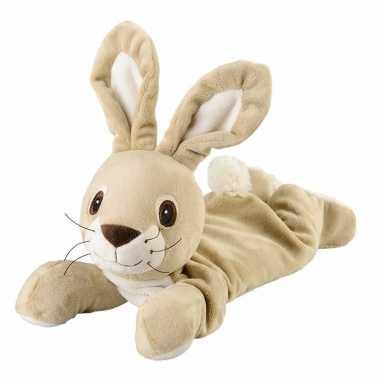 Warmte knuffel liggende konijn babyshower kado