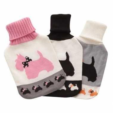 Warmwaterkruik met zachte wit/roze honden hoes 2 liter
