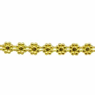 Was lintje met bloemetjes goud 24 x 1 cm
