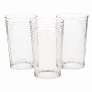 Water drinkglazen ribbel 300 ml 9x stuks