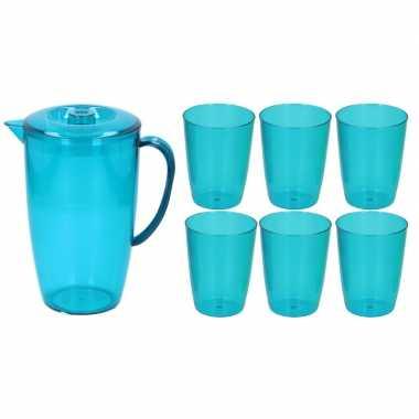 Water karaf schenkkan blauw 2 liter met deksel en 6x bekers/glazen va