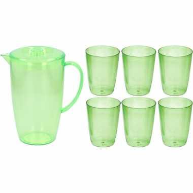 Water karaf schenkkan groen 2 liter met deksel en 6x bekers/glazen va