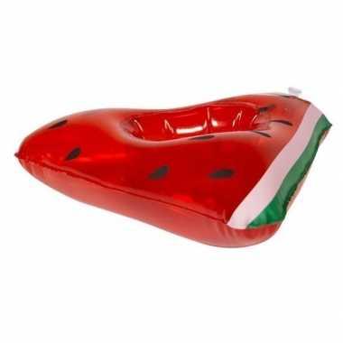 Watermeloen opblaas zwemband voor poppen/knuffels 19 cm