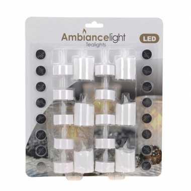 Waxinelichten met led 16 stuks wit