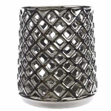 Waxinelichthouder open vierkantjes zilver