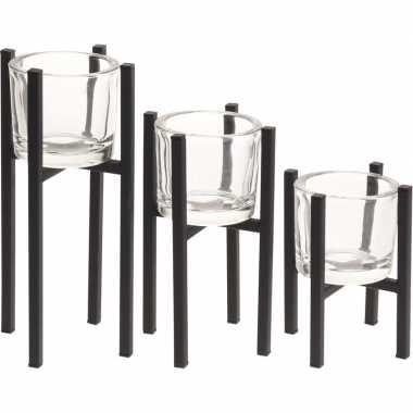 Waxinelichthouders van metaal 15 cm