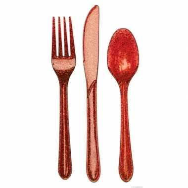 Wegwerp bestek rood glitter 24-delig