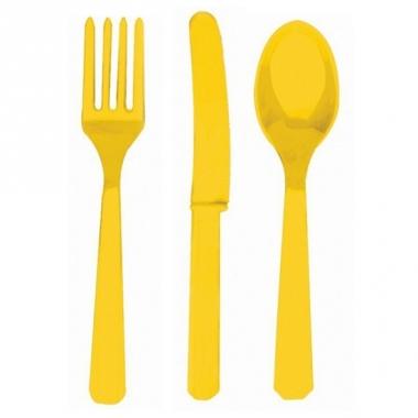Wegwerp bestek set geel