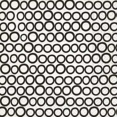 Wegwerp servetten met zwart/witte cirkels 20 stuks
