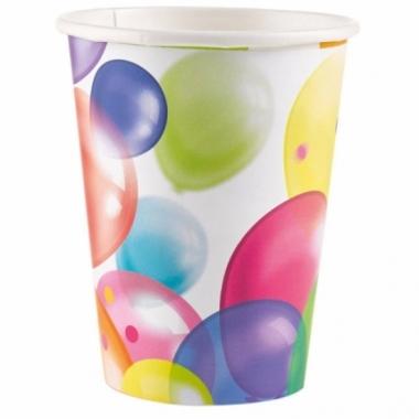 Wegwerpbekertjes met feestelijke ballonnenopdruk karton 23cm 8st