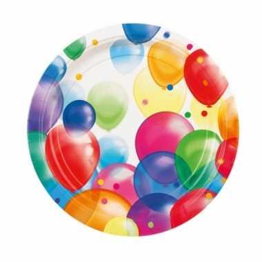 Wegwerpbordjes met feestelijke ballonnenopdruk karton 23 cm 8st