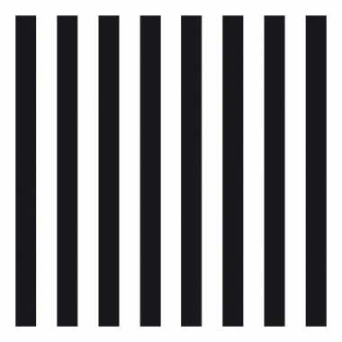 Wegwerpservetten strepen zwart/wit 3-laags 20 stuks
