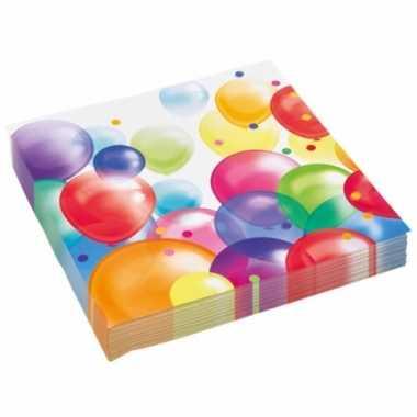 Wegwerpservettenmet feestelijke ballonnenopdruk papier 23cm 20st