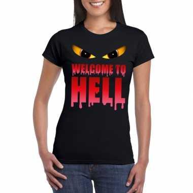 Welcome to hell halloween duivel t-shirt zwart dames