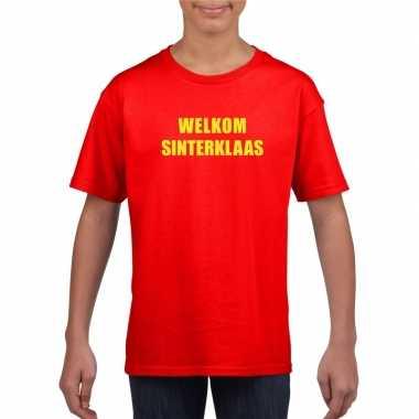 Welkom sinterklaas rood t-shirt voor kinderen
