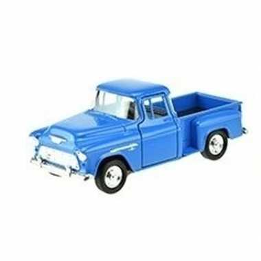 Welly modelauto chevrolet 1955 stepside blauw 1:34
