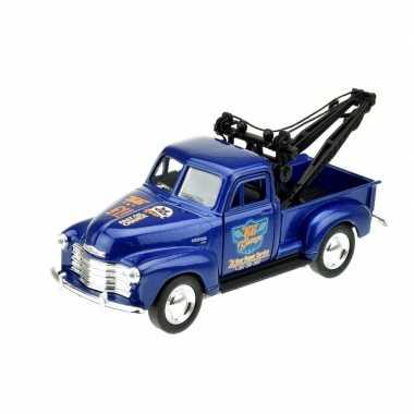 Welly modelauto chevrolet oldtimer 1953 stepside tow truck blauw 1:34