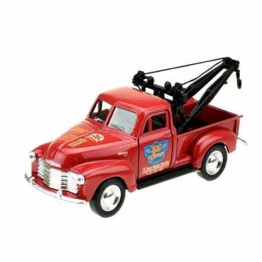 Welly modelauto chevrolet oldtimer 1953 stepside tow truck rood 1:34