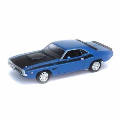 Welly modelauto dodge challenger 1970 blauw 1:34