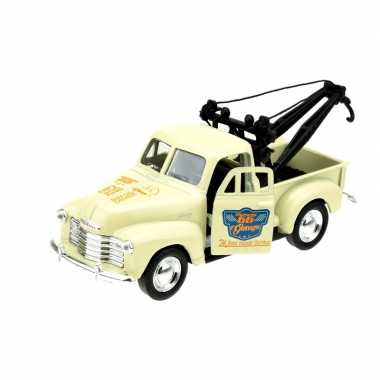 Welly modelauto oldtimer chevrolet 1953 stepside tow truck creme wit