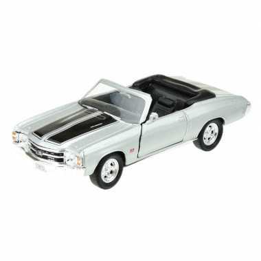 Welly modelauto oldtimer chevrolet 1971 chevelle zilver grijs 1:34
