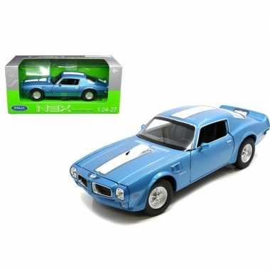 Welly modelauto pontiac 1972 firebird trans am 1:34 blauw/wit