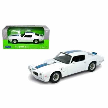 Welly modelauto pontiac 1972 firebird trans am 1:34 wit/blauw
