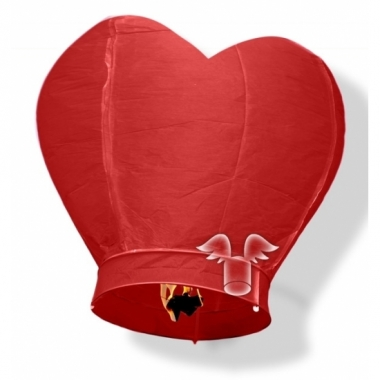 Wensballonnen in hartvorm rood 100 cm