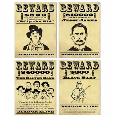 Western posters wanted 4 stuks