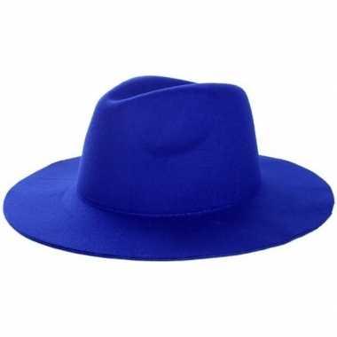 Western thema sherriff/cowboy hoed blauw voor dames/heren