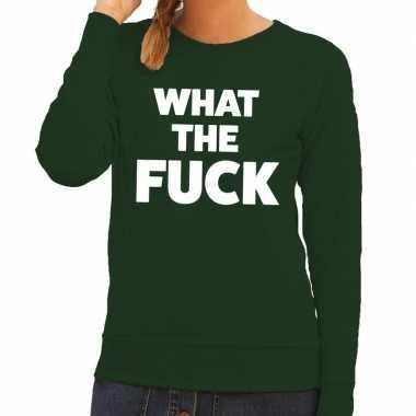 What the fuck tekst sweater groen voor dames