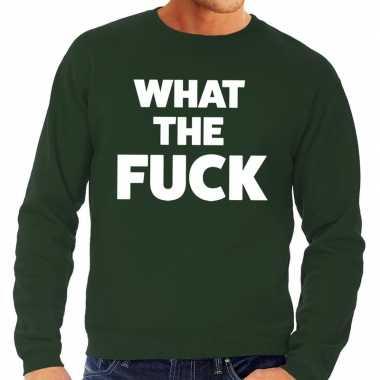What the fuck tekst sweater groen voor heren