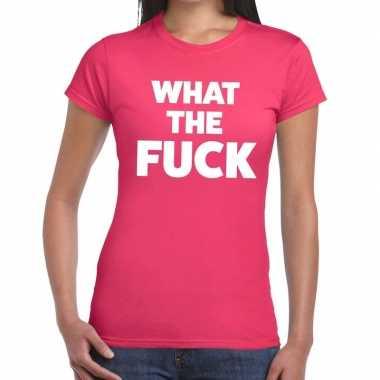 What the fuck tekst t-shirt roze dames