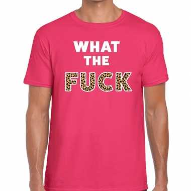 What the fuck tijger print tekst t-shirt roze heren