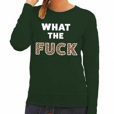 What the fuck tijgerprint tekst sweater groen voor dames