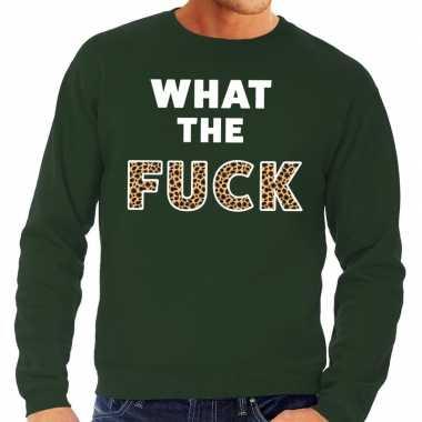 What the fuck tijgerprint tekst sweater groen voor heren