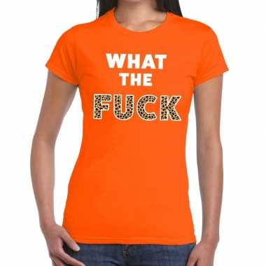 What the fuck tijgerprint tekst t-shirt oranje dames