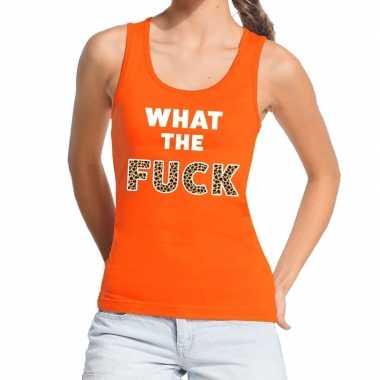 What the fuck tijgerprint tekst tanktop / mouwloos shirt oranje
