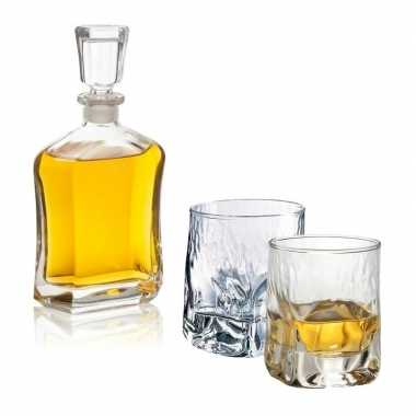 Whiskey karaf 0,7 liter met twee bijzondere whiskey glazen