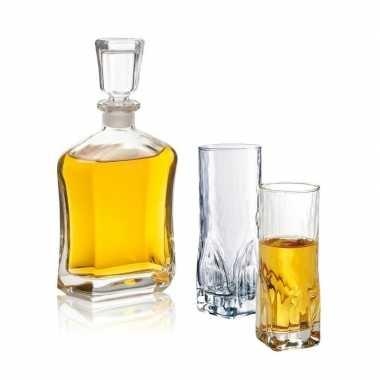 Whiskey karaf met twee hoge whiskey glazen 0,7 liter