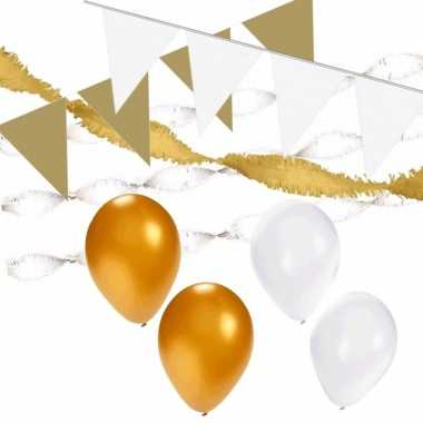 White and gold feest thema versiering pakket xl