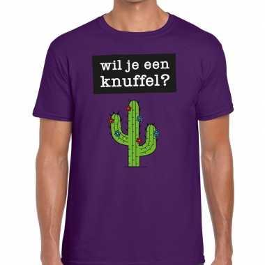 Wil je een knuffel tekst t-shirt paars heren