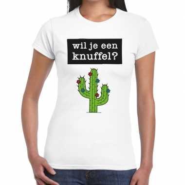Wil je een knuffel tekst t-shirt wit dames