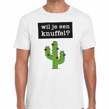 Wil je een knuffel tekst t-shirt wit heren