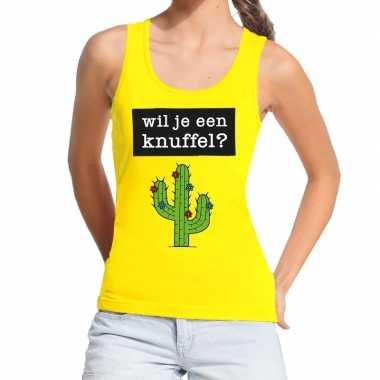 Wil je een knuffel tekst tanktop / mouwloos shirt geel dames
