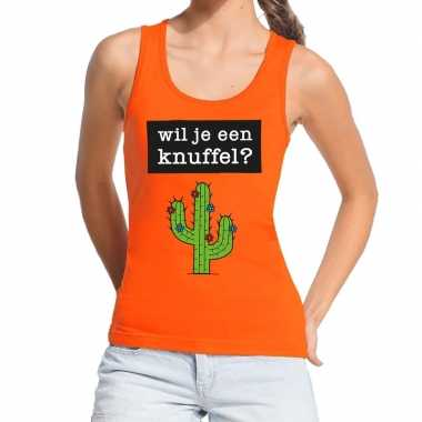 Wil je een knuffel tekst tanktop / mouwloos shirt oranje dames