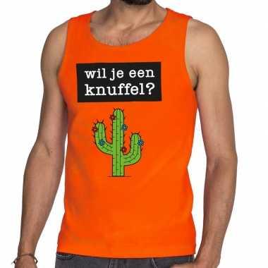 Wil je een knuffel tekst tanktop / mouwloos shirt oranje heren