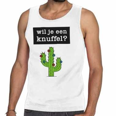 Wil je een knuffel tekst tanktop / mouwloos shirt wit heren